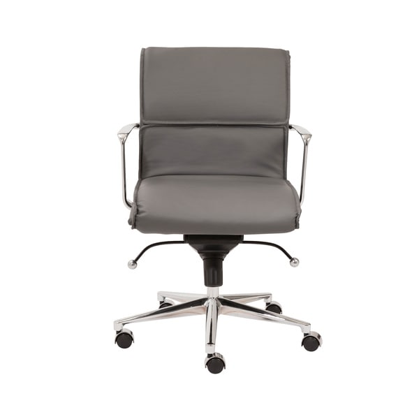 Leif Grey Leatherette/ Chrome Low Back Office Chair