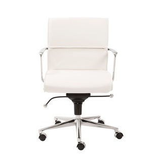 Leif White Leatherette/ Chrome Low Back Office Chair