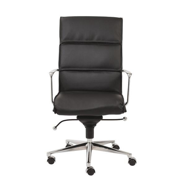 Leif Black Leatherette/ Chrome High Back Office Chair