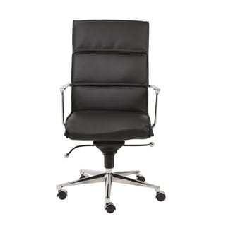 Leif Black Leatherette/ Chrome High Back Office Chair