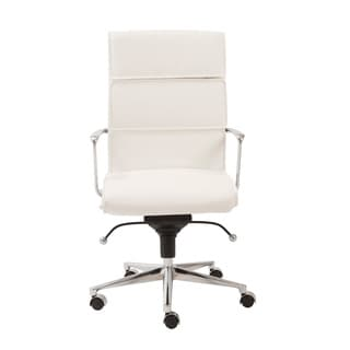 Leif White Leatherette/ Chrome High Back Office Chair