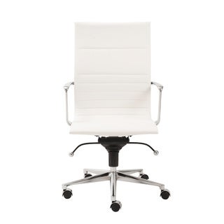 Kyler White Leatherette/ Chrome High Back Office Chair