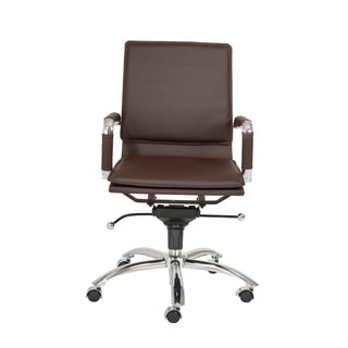 Gunar Pro Brown Leatherette/ Chrome Low Back Office Chair