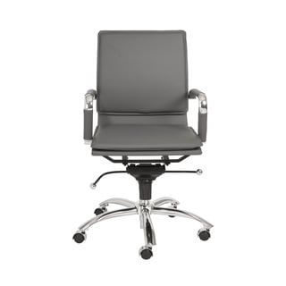 Gunar Pro Grey Leatherette/ Chrome Low Back Office Chair