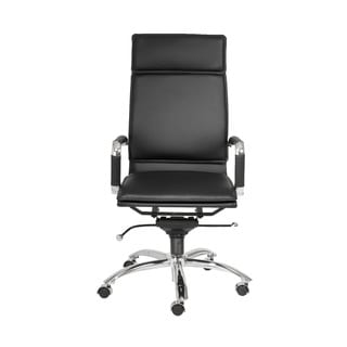 Gunar Pro Black Leatherette/ Chrome High Back Office Chair