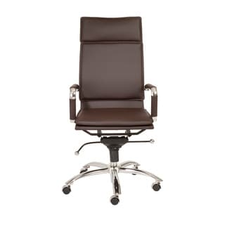 Gunar Pro Brown Leatherette/ Chrome High Back Office Chair