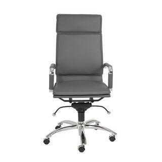 Gunar Pro Grey Leatherette/ Chrome High Back Office Chair