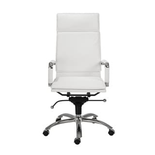 Gunar Pro White Leatherette/ Chrome High Back Office Chair