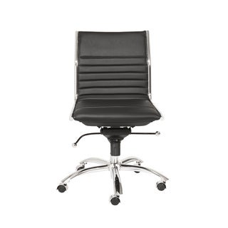 Dirk Black/ Chrome Low Back Armless Office Chair