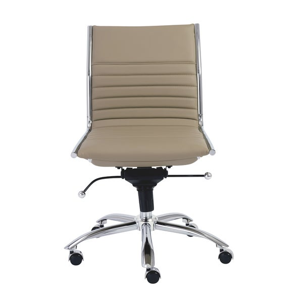 Dirk Taupe/ Chrome Low Back Armless Office Chair