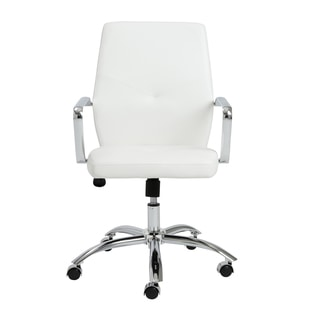 Napoleon White/ Chrome Low Back Office Chair