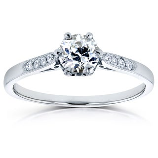Annello by Kobelli 14k White Gold 1/2ct TDW Old Mine Cut Diamond Ring (G, SI1)