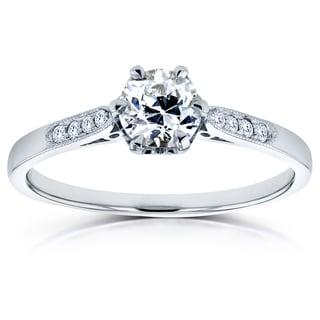 Annello by Kobelli 14k White Gold 1/2ct TDW Old Mine Cut Diamond Ring (G, SI1)
