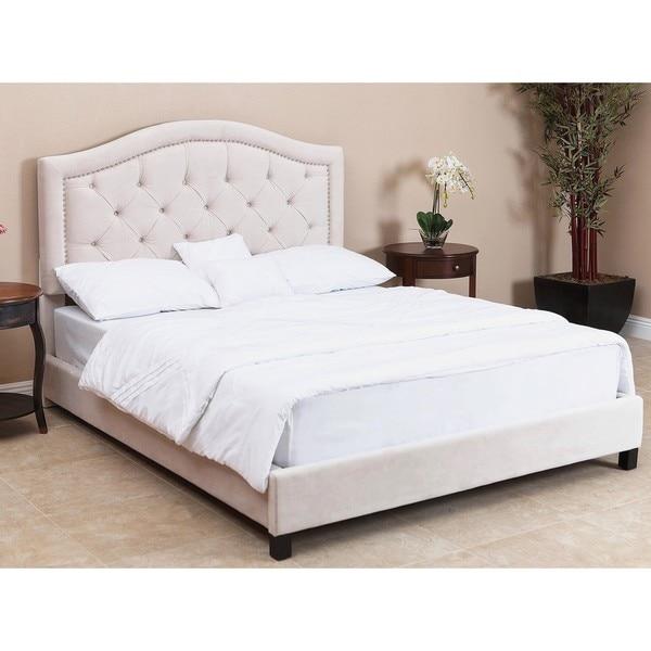 Abbyson Hillsdale Tufted Ivory Velvet Bed, Queen