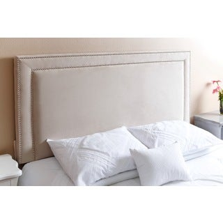 ABBYSON LIVING Tamey Nail Head Trim Ivory Velvet Queen/ Full Headboard