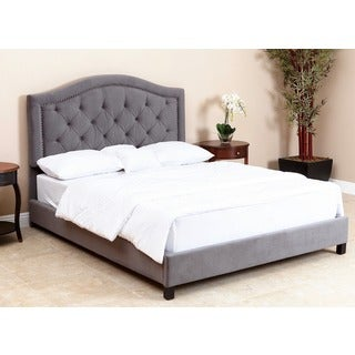 ABBYSON LIVING Hillsdale Tufted Grey Velvet Bed, Queen/Full