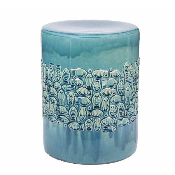 Abbyson Bali Teal Ceramic Garden Stool Free Shipping