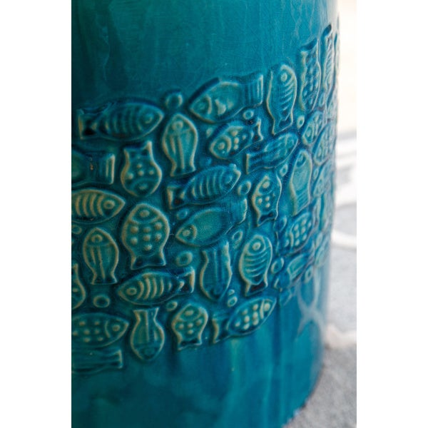 Abbyson Bali Teal Ceramic Garden Stool   Free Shipping Today    Overstock.com   18011527