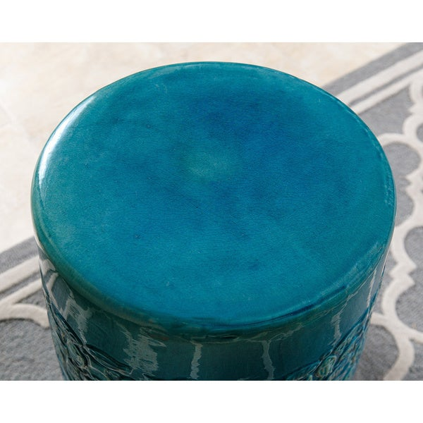 Charming Abbyson Bali Teal Ceramic Garden Stool   Free Shipping Today    Overstock.com   18011527