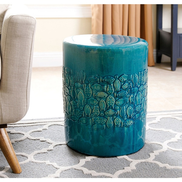 Superbe Abbyson Bali Teal Ceramic Garden Stool