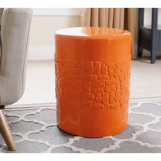 ABBYSON LIVING Bali Orange Ceramic Garden Stool