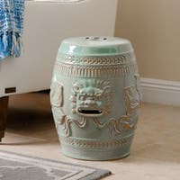 Abbyson Chinese Lion Antique Teal Green Ceramic Garden Stool