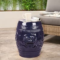 Abbyson Chinese Lion Navy Blue Green Ceramic Garden Stool