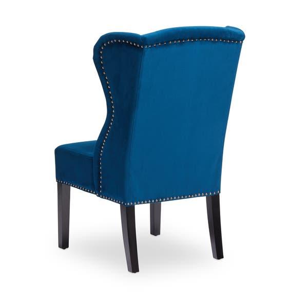 Navy Blue Velvet Wingback Dining Chair