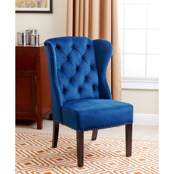 Abbyson Sierra Tufted Navy Blue Velvet Wingback Dining Chair Free