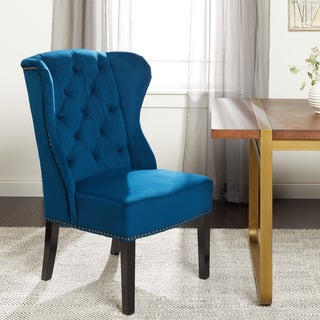 abbyson sierra tufted navy blue velvet wingback dining chair - Blue And White Dining Chairs