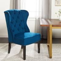 Abbyson Sierra Tufted Navy Blue Velvet Wingback Dining Chair