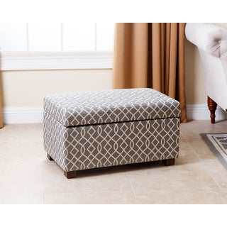 ABBYSON LIVING Mercer Grey Patterned Small Storage Ottoman