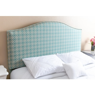 ABBYSON LIVING Riley Nail Head Trim Turquoise Pattern Linen Queen/ Full Headboard
