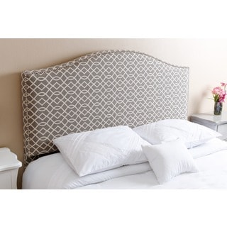 ABBYSON LIVING Riley Nail Head Trim Grey Pattern Linen Headboard, Queen/Full