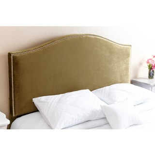 ABBYSON LIVING Riley Nail Head Trim Olive Green Viscose Headboard, Queen/Full
