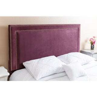 ABBYSON LIVING Tamey Nail Head Trim Purple Velvet Queen/ Full Headboard