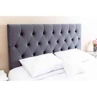 Abbyson Connie Tufted Charcoal Velvet Headboard, Queen/Full