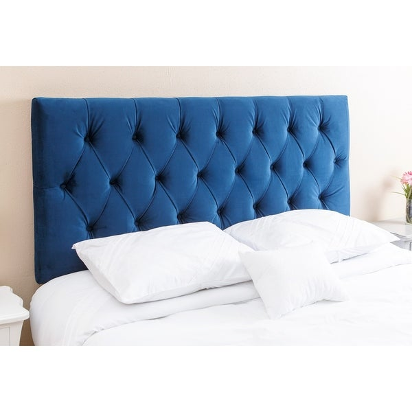 Abbyson Connie Tufted Navy Blue Velvet Headboard, Queen/Full