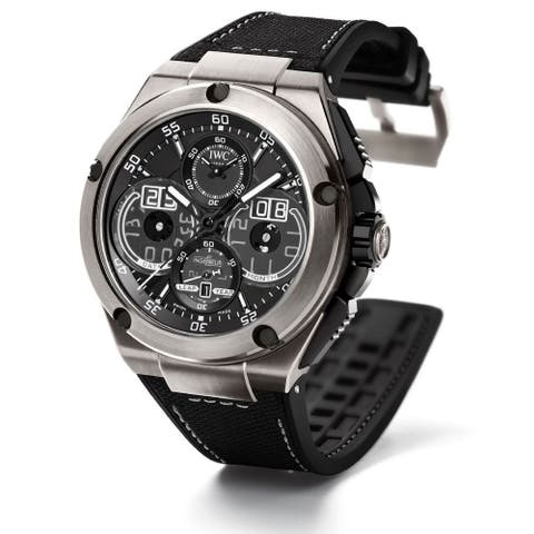 IWC Men's IW379201 'Ingenieur' Automatic Chronograph Black Leather Watch