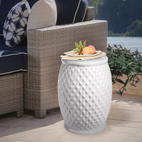 Abbyson Marina Tufted White Ceramic Garden Stool