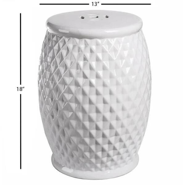 Cool Shop Abbyson Marina Tufted White Ceramic Garden Stool On Inzonedesignstudio Interior Chair Design Inzonedesignstudiocom