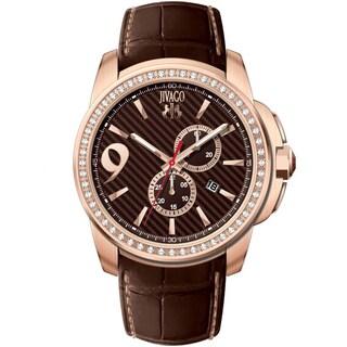 Jivago Men's JV1531 Gliese Round Chronograph Brown Leather Strap Watch