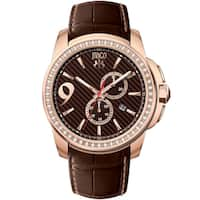 Jivago Men's  Gliese Round Chronograph Brown Leather Strap Watch