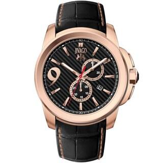 Jivago Men's JV1510 Gliese Round Black Leather Strap Watch