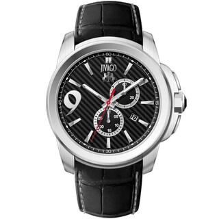 Jivago Men's JV1517 Gliese Round Black Leather Strap Watch