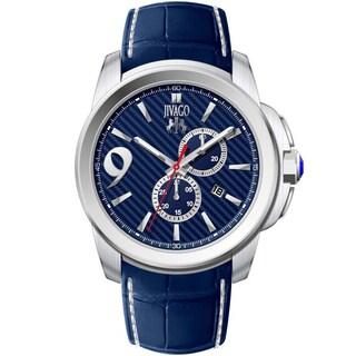 Jivago Men's JV1518 Gliese Round Blue Leather Strap Watch