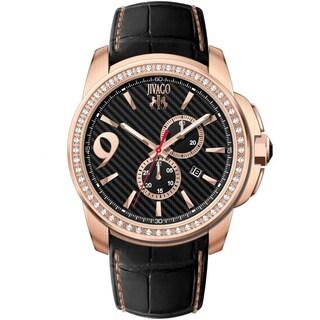 Jivago Men's JV1530 Gliese Round Black Leather Strap Watch