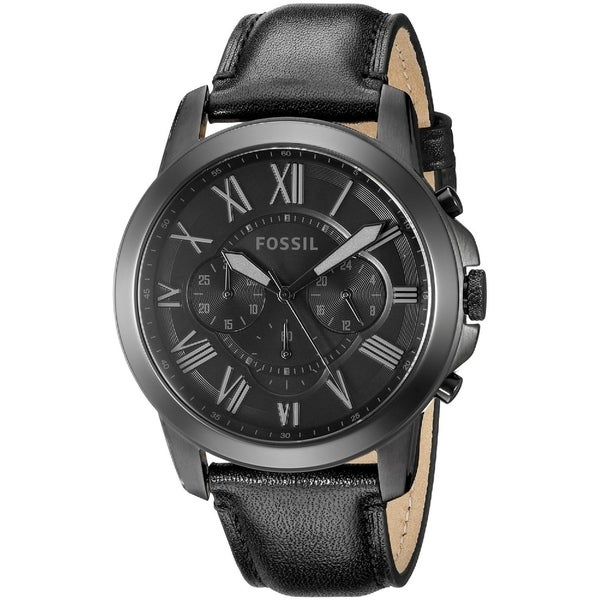884171199 Shop Fossil Men's FS5132 'Grant' Chronograph Black Leather Watch ...