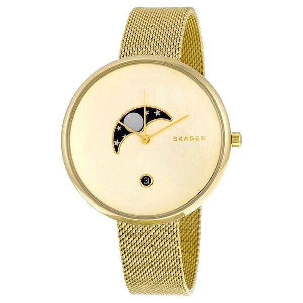 Skagen Women's SKW2373 'Gitte' Moonphase Gold-Tone Stainless Steel Watch