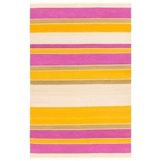 Hand-Woven Liora Wool/Cotton Area Rug (5 x 76 - Magenta)